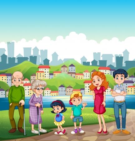 Illustratie van een grote gelukkige familie staan aan de oever van de rivier tegenover het dorp