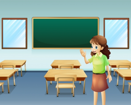 Illustration of a teacher inside the empty classroom Vector