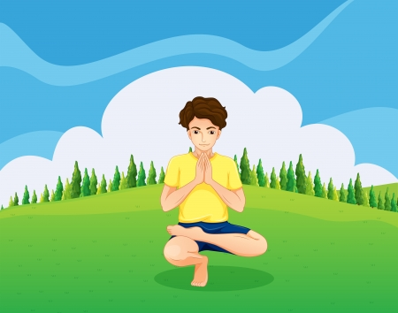 young tree: Illustration of a handsome young boy doing yoga in the hill Illustration