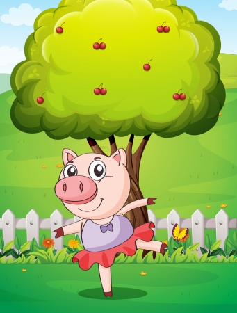 Illustration of a female pig playing at the yard near the big tree Stock Vector - 22894526