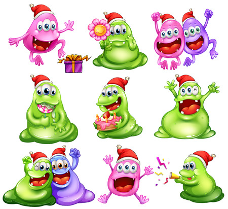 Illustration of the monsters celebrating christmas on a white background Vector
