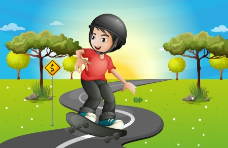 drawing safety: Illustration of a boy skateboarding at the road