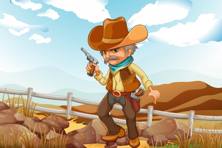 Illustration of a man with a gun standing near the rocks Vector