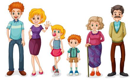 famiglia numerosa: Illustrazione di una grande famiglia felice su uno sfondo bianco