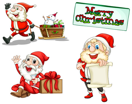 Illustration of the three smiling Santas on a white background Vector