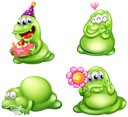Illustration of the four green monsters with different activities on a white background