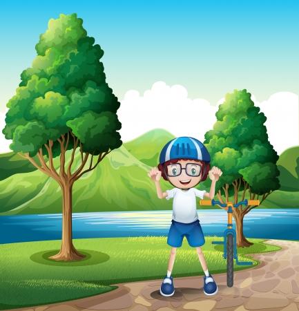강둑: 어린 소년의 그림 강둑에 나무 근처에 서있는 그의 장난감 자전거 일러스트