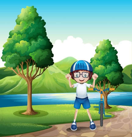 riverbank: Illustration of a young boy and his toy bike standing near the trees in the riverbank