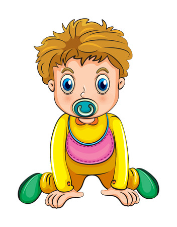 Illustration of a growing boy with a pacifier on a white background Vector