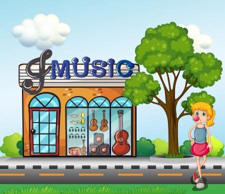 cemented: Ilustraci�n de una ni�a en frente de la tienda de m�sica
