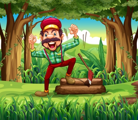 Illustration of a forest with a happy lumberjack Vector