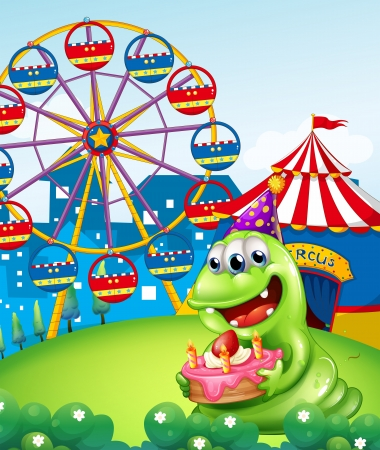 Illustration of a monster celebrating a birthday at the hilltop with a carnival Vector