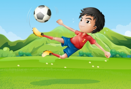 kicking ball: Illustration of a young boy playing football at the field