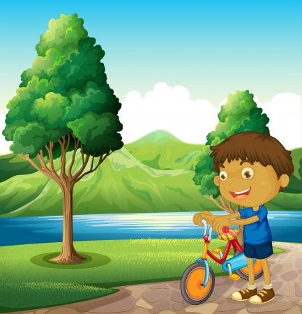 riverbank: Illustration of a kid at the riverbank playing with his bicycle