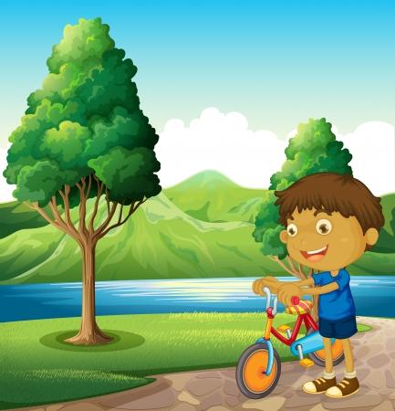 recursos naturales: Ilustración de un niño en la orilla del río jugando con su bicicleta