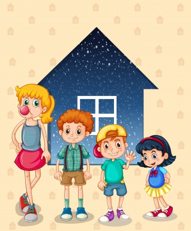 brothers and sisters: Illustration of the siblings near the house