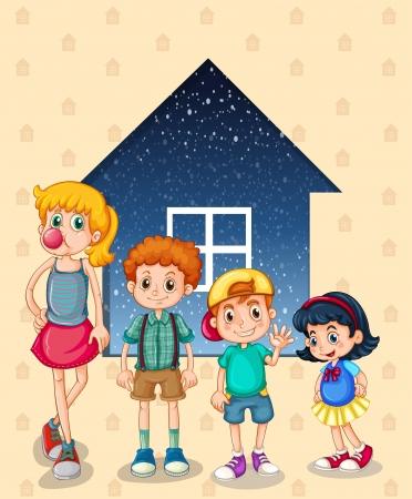 personas mayores: Ilustración de los hermanos cerca de la casa