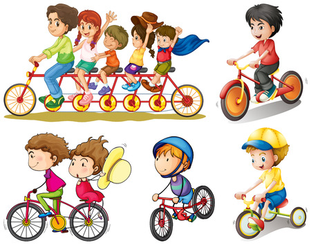 child safety: Illustration of a group of people biking on a white background
