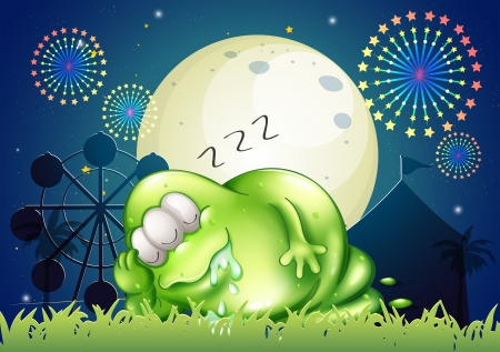 sleeping car: Illustration of a fat monster sleeping at the carnival in the middle of the night