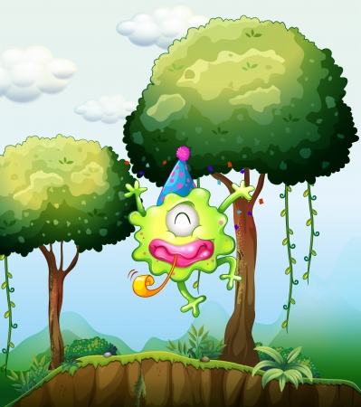 Illustration of a monster playing near the tree in the forest Vector