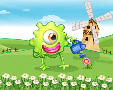 hilltop: Illustration of a one-eyed monster watering the plant at the hilltop