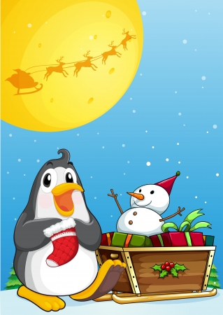 Illustration of a penguin near the sleigh with a snowman Vector