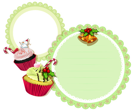 Illustration of a round christmas design with cupcakes on a white background Vector
