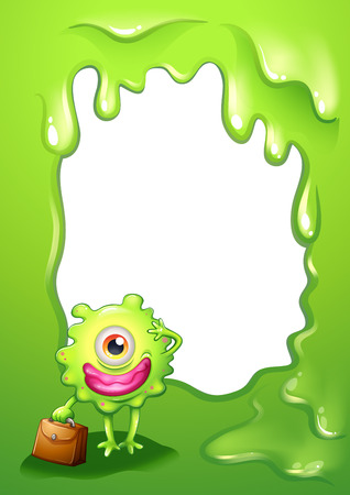 Illustration of a green border design with a monster holding a bag Stock Vector - 23184922