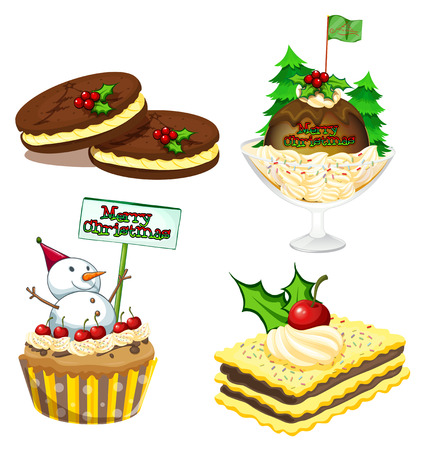 christmas cake: Illustration of the four desserts for christmas on a white background