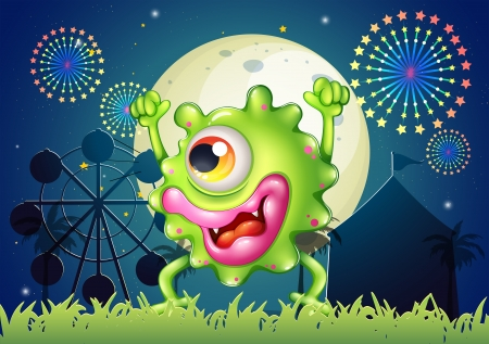 Illustration of a monster dancing at the carnival in the middle of the night Vector