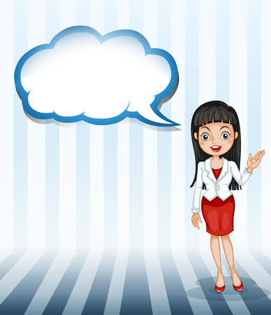 Illustration of a girl talking with an empty cloud template on a white background Vector