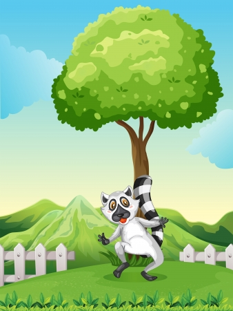 tall trees: Illustration of a lemur under the tree Illustration