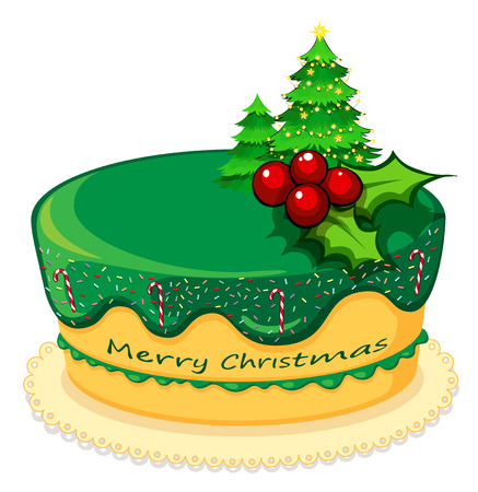 Illustration of a cake for christmas on a white background Vector