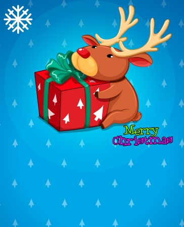 Illustration of a christmas card with a gift and a deer Vector