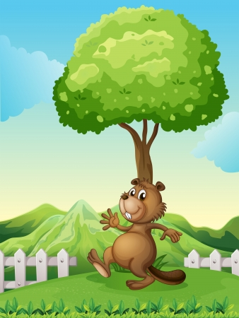 Illustration of a brown beaver under the tree Vector