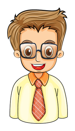 handsome young man: Illustration of a handsome young man with an eyeglass on a white background Illustration