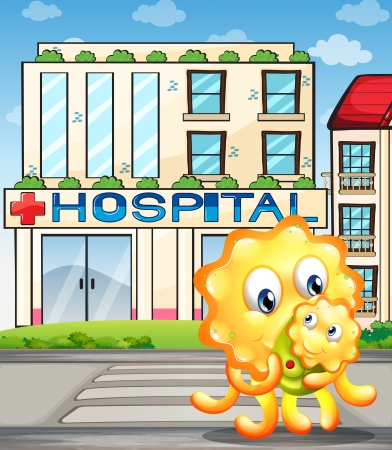 bush babies: Illustration of a mother monster and her child in front of the hospital Illustration