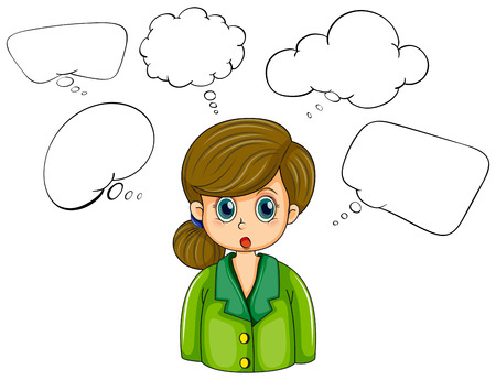 Illustration of a girl with many empty callouts on a white background Vector