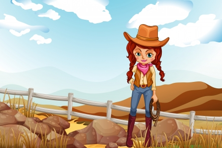 Illustration of a pretty cowgirl near the rocks Vector