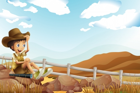 Illustration of a young explorer sitting above the rock near the wooden fence Vector
