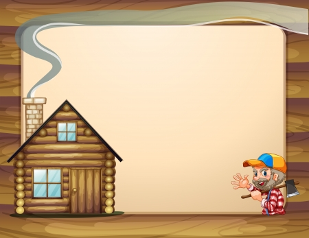 old wooden door: Illustration of an empty template with a house and a woodman carrying an axe