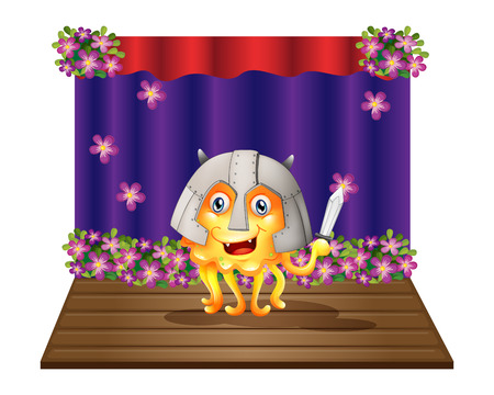 centerstage: Illustration of a monster wearing a helmet standing in the middle of the stage on a white background Illustration