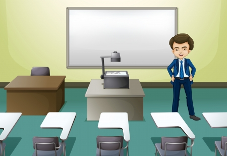 bench alone: Illustration of a man inside the conference room