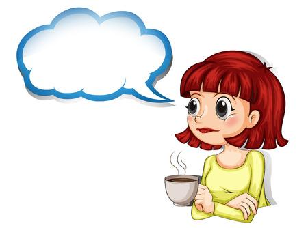 コーヒーカップ: 彼女の白い背景の空の雲テンプレートとコーヒーのカップを持つ女性のイラスト
