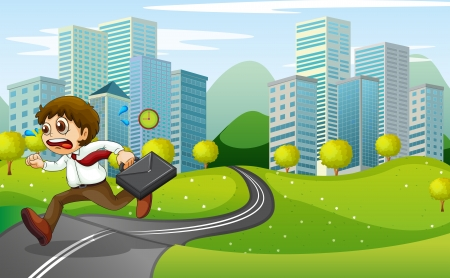 Illustration of a nervous man running with a suitcase Illustration