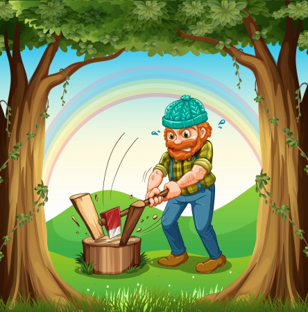 Illustration of a man chopping the woods near the trees Vector