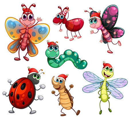 Illustration of the segmented creatures on a white background Vector