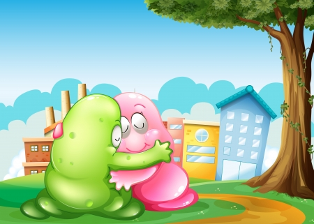 Illustration of the two monsters at the hilltop hugging each other near the tree
