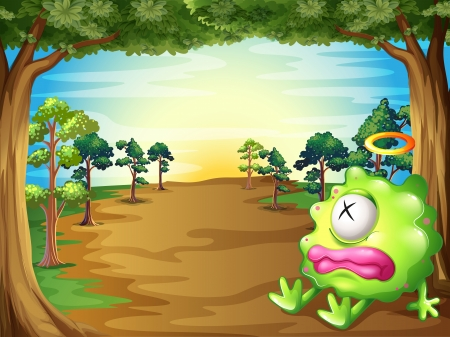 Illustration of a green monster at the forest resting under the tree Vector