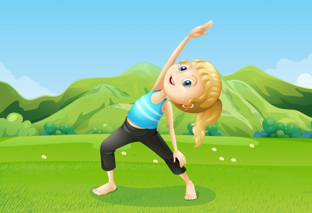 and barefoot: Illustration of a girl exercising barefoot at the field